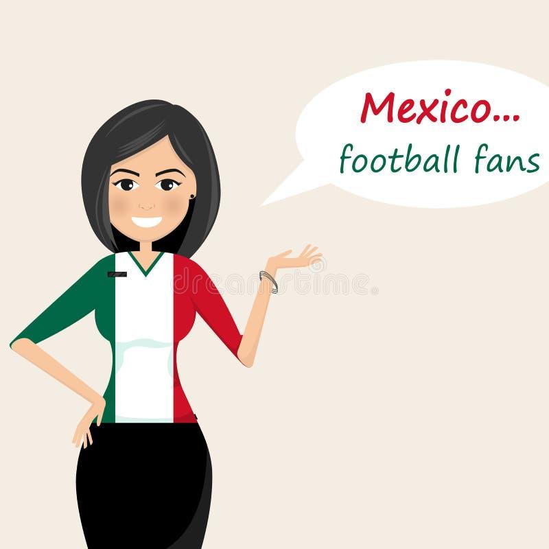 墨西哥足球迷 快乐的足球迷,体育图象 年轻w 皇族释放例证