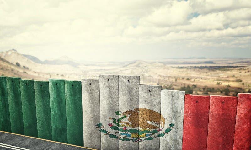 墨西哥边界墙壁 库存例证