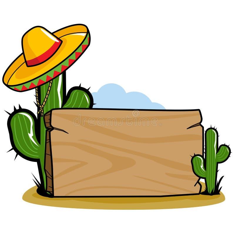 墨西哥阔边帽仙人掌路标 向量例证