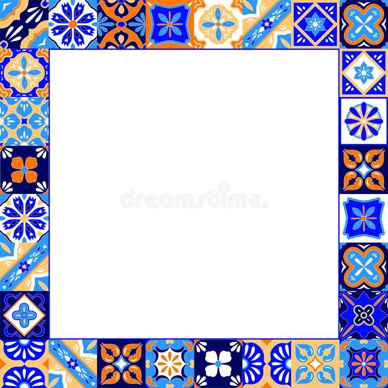 墨西哥风格化塔拉韦拉铺磁砖在蓝色橙色的框架和白色,传染媒介 库存例证
