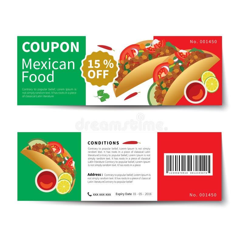 墨西哥食物优惠券折扣模板平的设计 向量例证