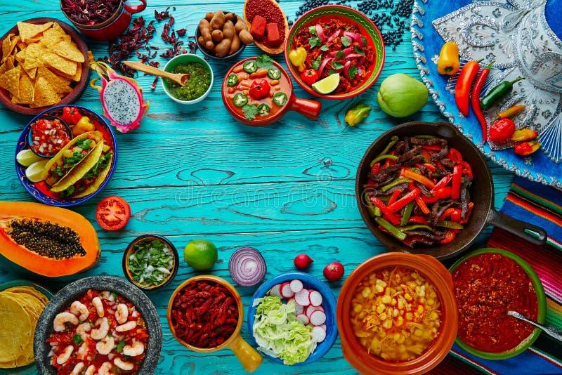 墨西哥食物混合五颜六色的背景墨西哥 免版税库存照片