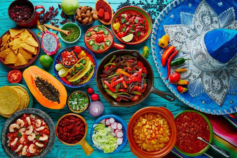墨西哥食物混合五颜六色的背景 库存图片