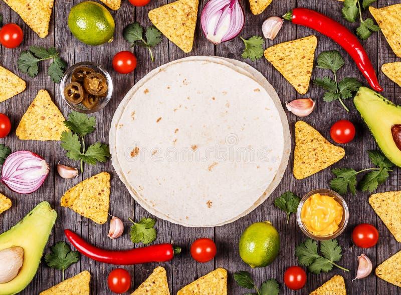 墨西哥食物,食物背景的概念 免版税库存图片