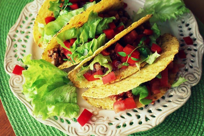 墨西哥食物-炸玉米饼用肉,莴苣 库存照片