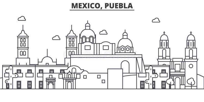 墨西哥,普埃布拉建筑学线地平线例证 与著名地标的线性传染媒介都市风景,城市视域 向量例证