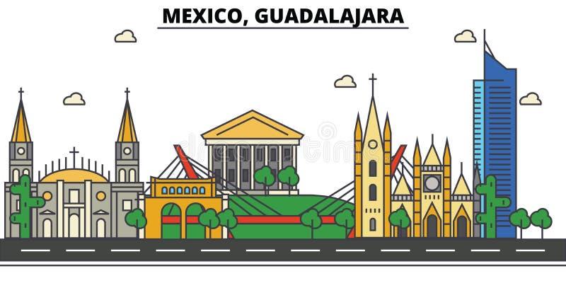 墨西哥,瓜达拉哈拉 城市地平线,建筑学,大厦,街道,剪影,风景,全景,地标,象 皇族释放例证
