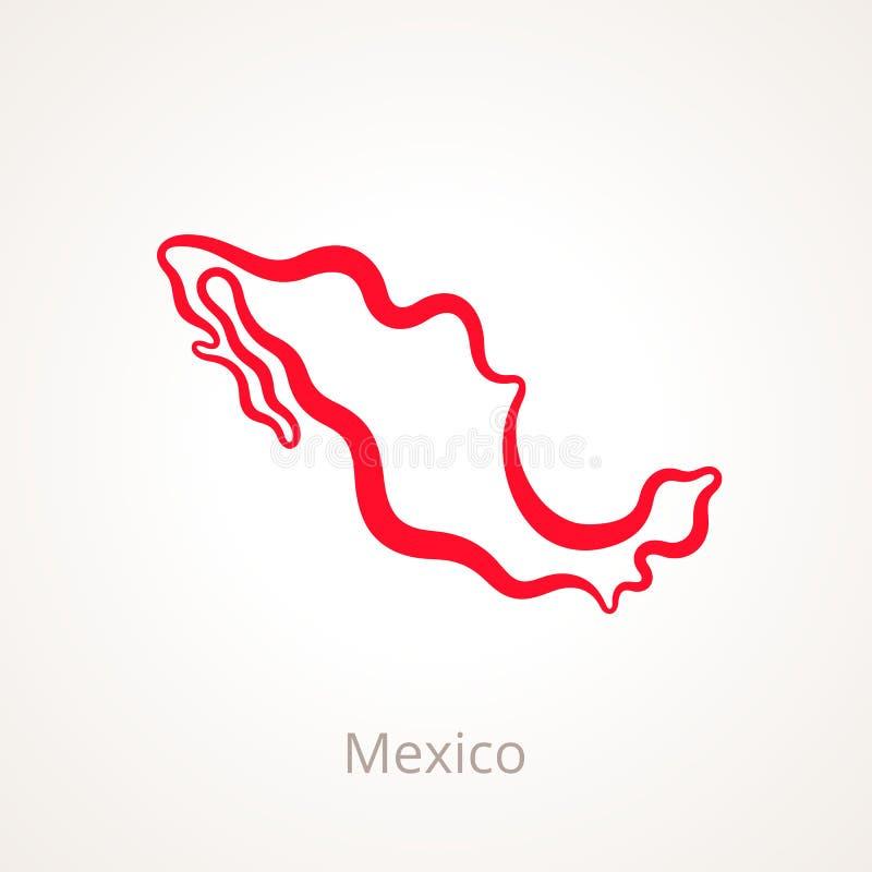 墨西哥-概述地图 向量例证
