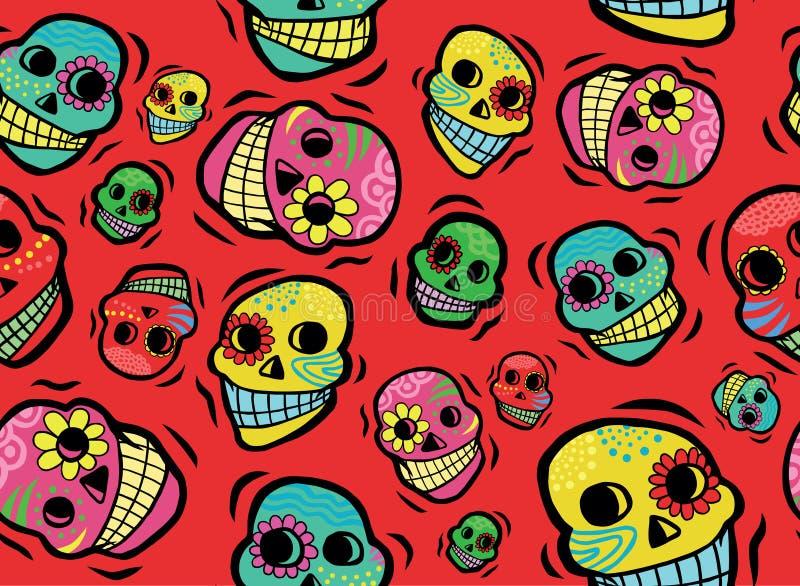 墨西哥头骨无缝的样式 免版税图库摄影