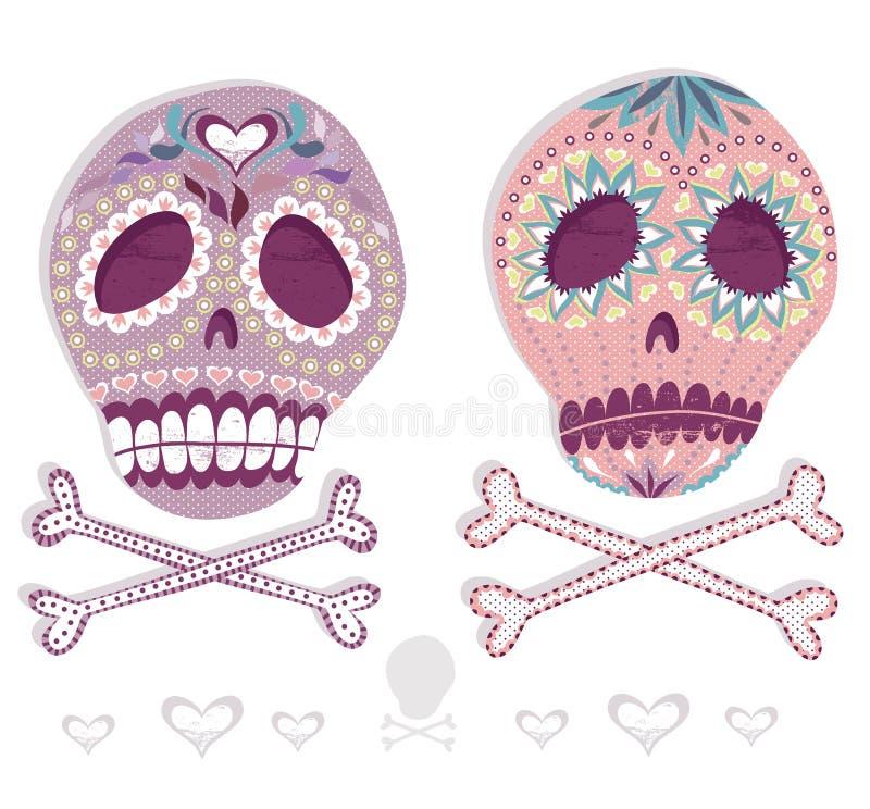 墨西哥头骨集合。有花的五颜六色的头骨和 向量例证