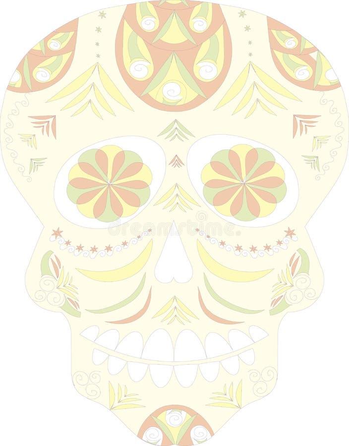 墨西哥头骨,死者的天,死者,在白色背景的头骨灵魂  皇族释放例证