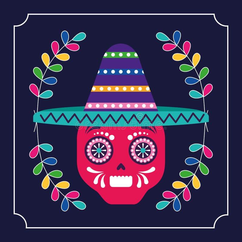 墨西哥cinco de马约角头骨 库存例证