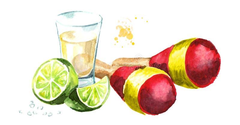 墨西哥maracas和龙舌兰酒射击了与石灰和盐 手拉的水彩例证,隔绝在白色背景 库存例证
