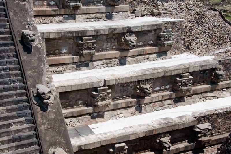 墨西哥teotihuacan quetzalcoatl的寺庙 库存图片