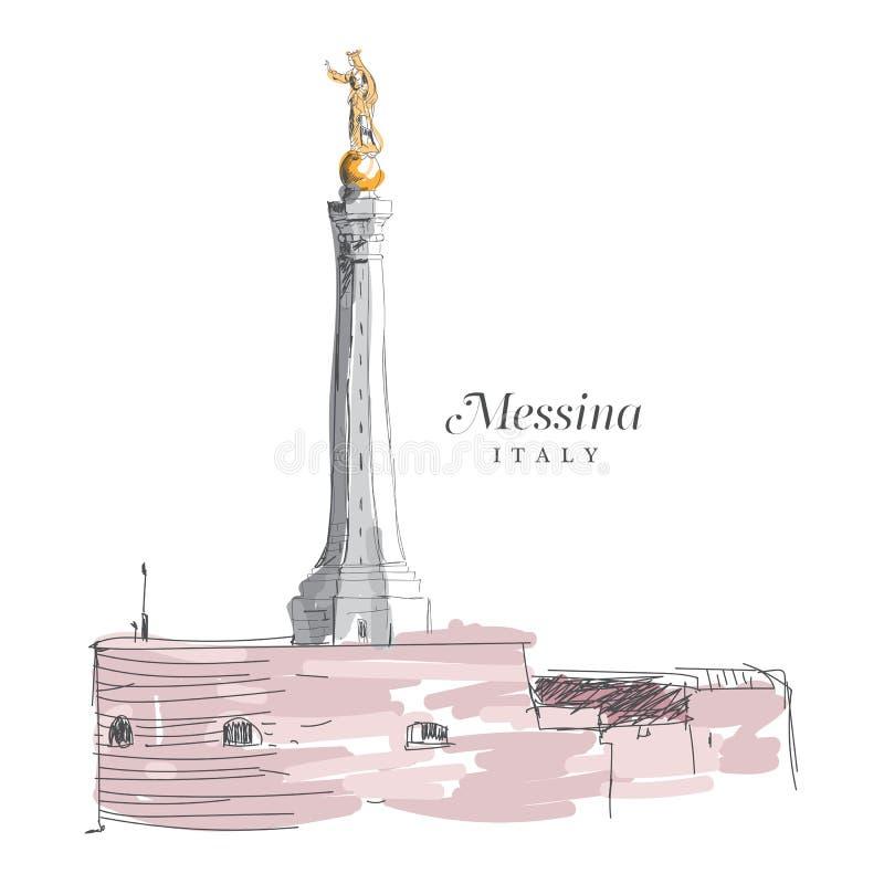 墨西拿,意大利徒手画的数字式图画  皇族释放例证