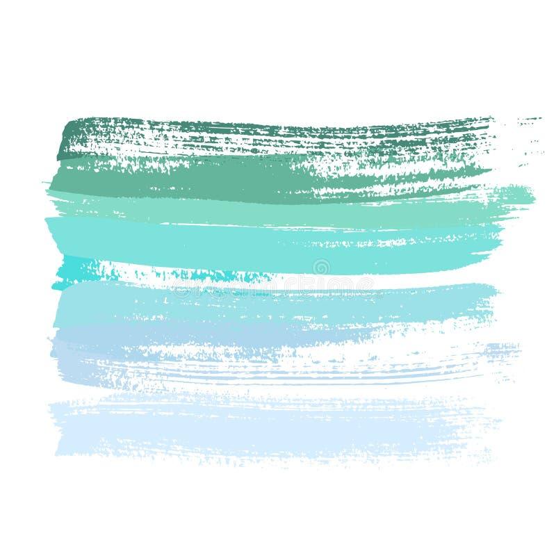 墨水传染媒介被设置的刷子冲程 也corel凹道例证向量 难看的东西手拉的水彩纹理 绿色和蓝色梯度 库存例证