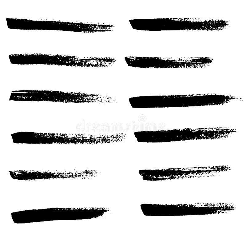 墨水传染媒介被设置的刷子冲程 也corel凹道例证向量 难看的东西手拉的水彩纹理 皇族释放例证