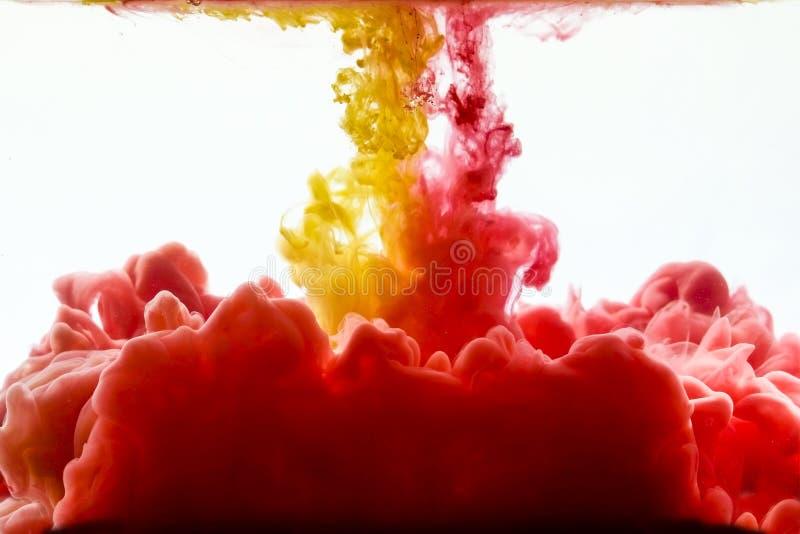 墨水多彩多姿的打旋的下落在水中 免版税库存照片