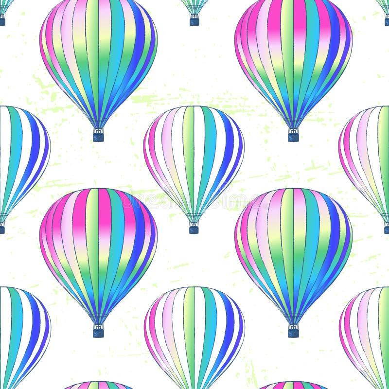 墨水手拉的传染媒介气球无缝的样式 皇族释放例证