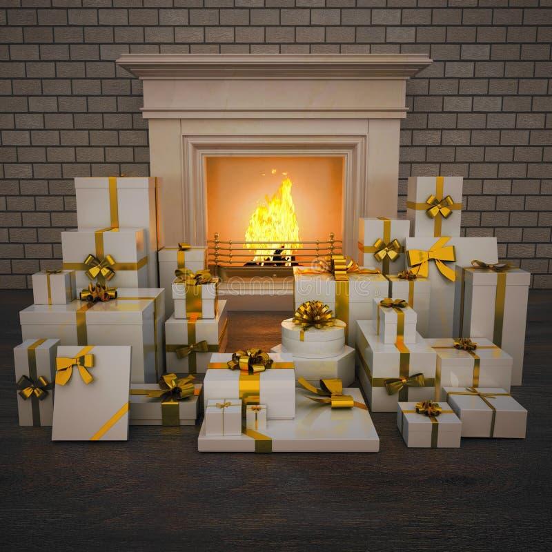 壁炉在与礼物的晚上在木地板上 向量例证