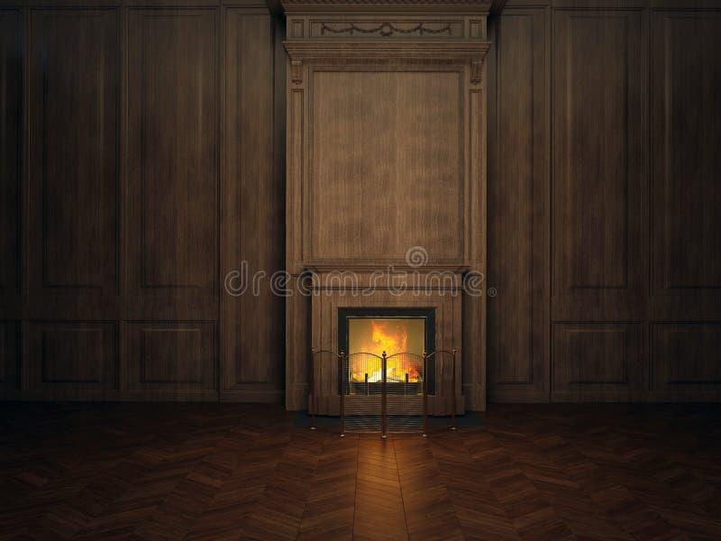 壁炉在屋子里 向量例证