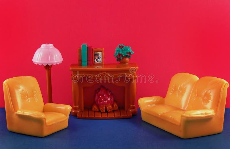 壁炉家具沙发 库存例证