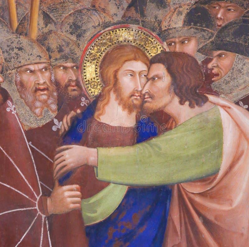 壁画在圣吉米尼亚诺- Judas亲吻  库存照片