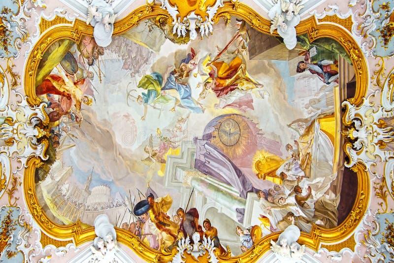壁画在教会Wieskirche里。 Wies 免版税库存图片