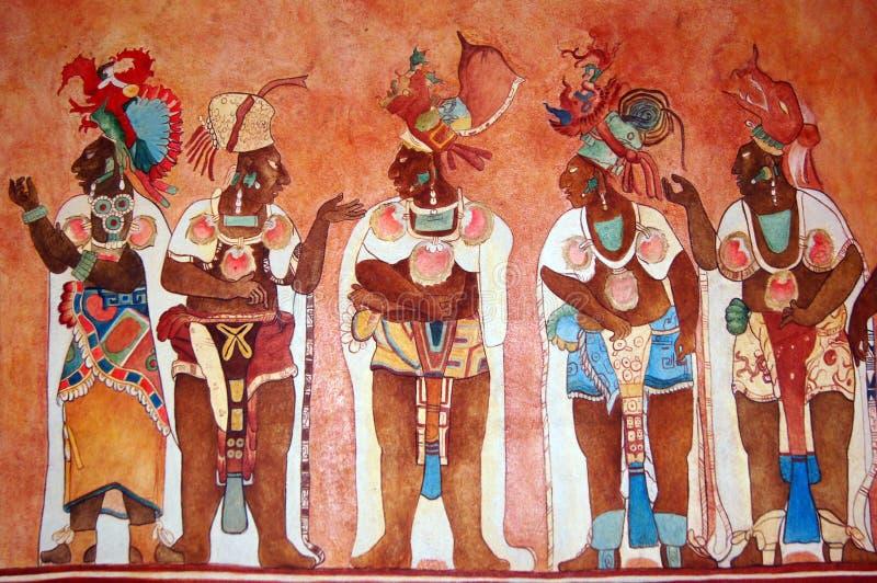 壁画印地安人玛雅人寺庙墙壁