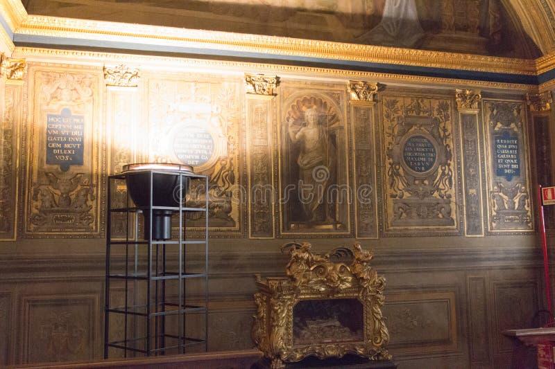 壁画Ridolfo Ghirlandaio, Priors, Palazzo Vecchio,佛罗伦萨,意大利的教堂 库存照片
