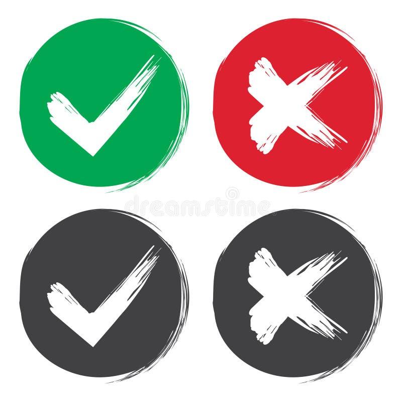 壁虱和十字架刷子标志 好绿色的检查号和红色X象,隔绝在白色背景 简单的标记图形设计 符号 皇族释放例证