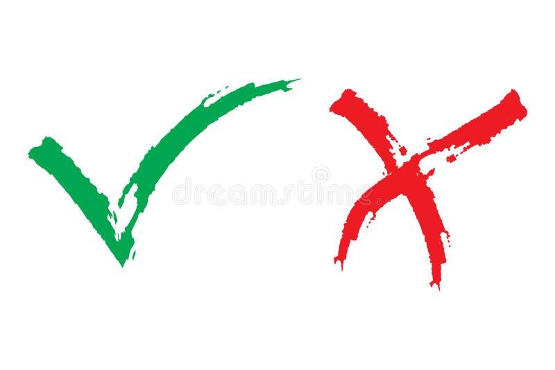 壁虱和十字架刷子标志 好绿色的检查号和红色X象,隔绝在白色背景 简单的标记图形设计 皇族释放例证
