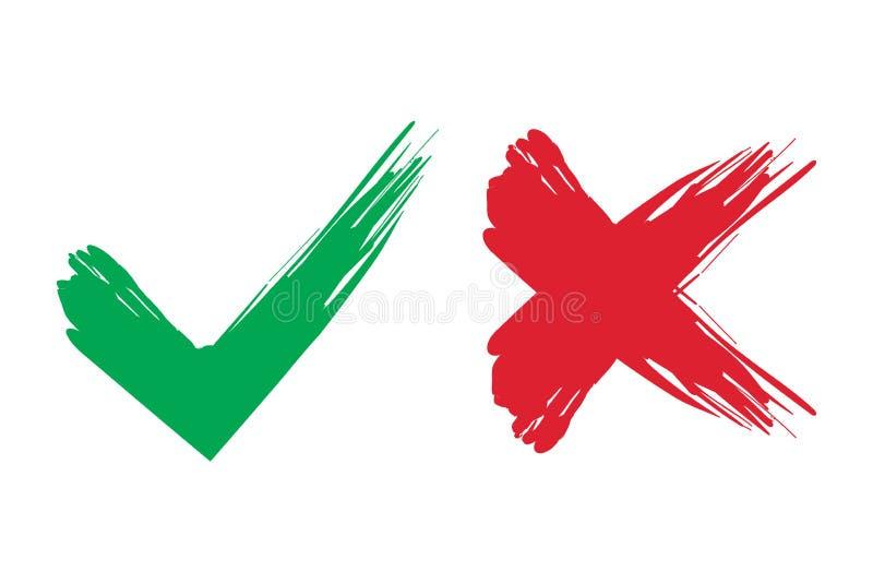 壁虱和十字架刷子标志 好绿色的检查号和红色X象,隔绝在白色背景 库存例证