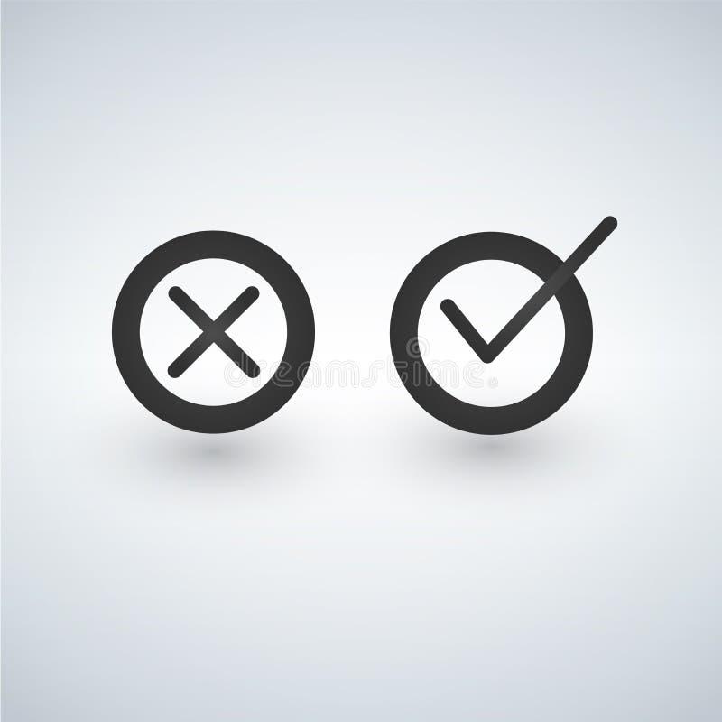 壁虱和十字架标志 好黑的检查号和黑X象,隔绝在白色背景 向量例证