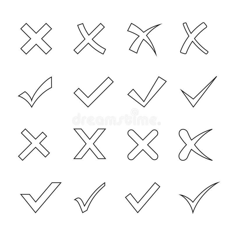 壁虱和十字架集合 库存例证