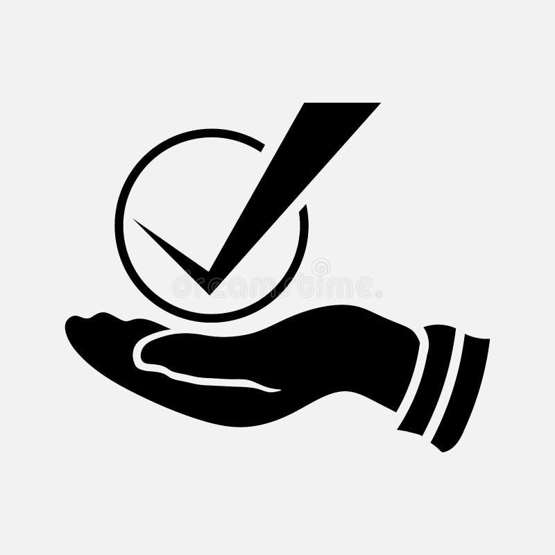 壁虱和手标志象 向量例证