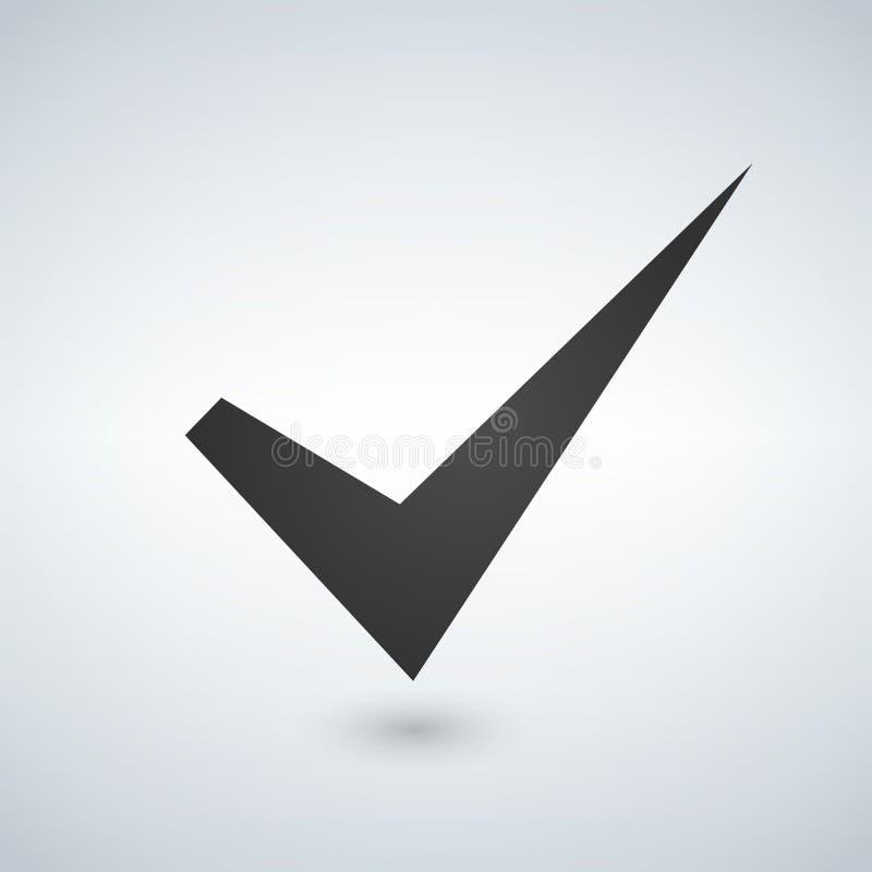 壁虱标志元素 在白色背景隔绝的检查号象 简单的标记图形设计 表决的,决定,网OK按钮 Sym 皇族释放例证