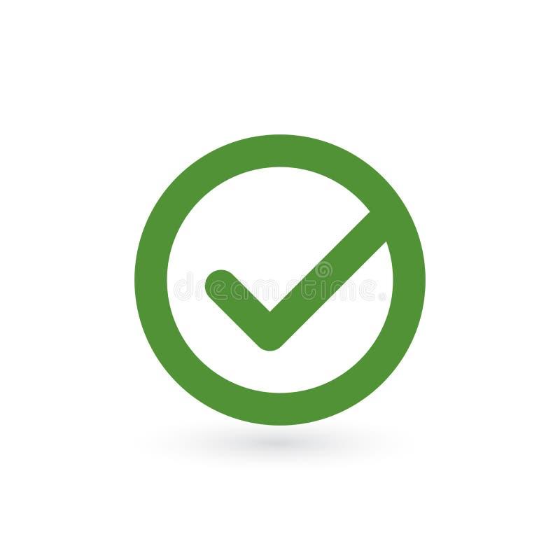 壁虱标志元素 在白色背景隔绝的绿色检查号象 简单的标记图形设计 也corel凹道例证向量 库存例证