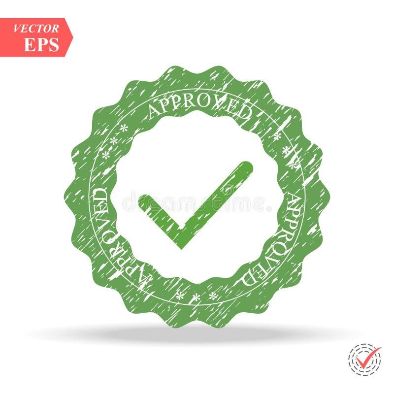 壁虱象传染媒介标志、在白色背景隔绝的绿色检查号,被检查的象或者正确挑选标志,校验标志 向量例证