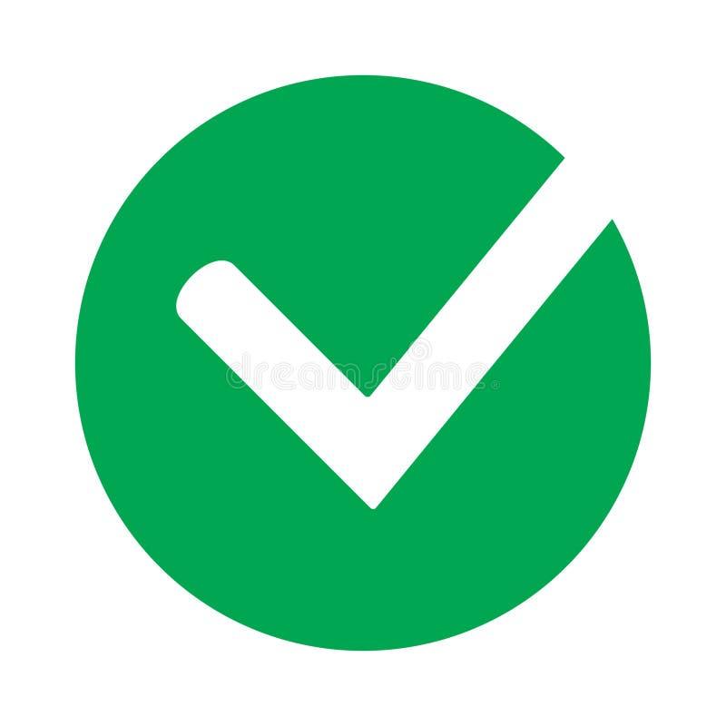 壁虱象传染媒介标志、在白色背景隔绝的绿色检查号,被检查的象或者正确选择标志在圆形,检查m 库存例证
