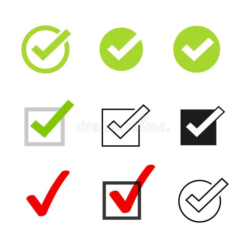 壁虱象导航符号集、在白色背景隔绝的检查号收藏,被检查的象或者正确挑选标志 库存例证
