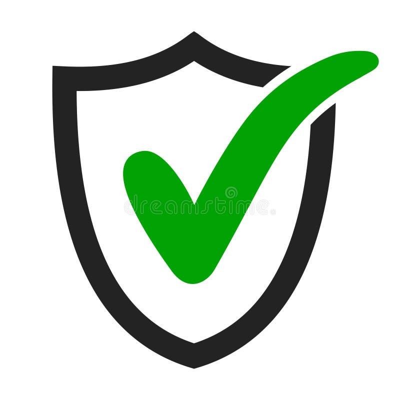 壁虱象批准了,保护,并且保密性标记,导航绿色校验标志盾 库存例证