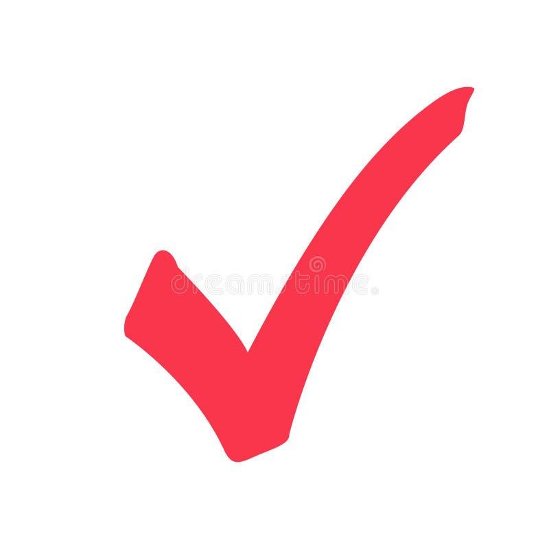 壁虱象标志,在白色背景隔绝的标志红色检查号,检查了象或正确挑选标志乱画 向量例证