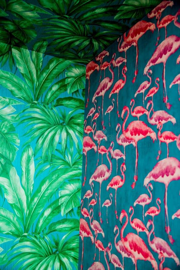 壁角与桃红色火鸟和绿叶棕榈树,回归线的设定热带无缝的样式细节  库存图片