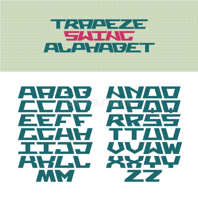 壁角技术样式字体 秋千形状的信件 向量例证