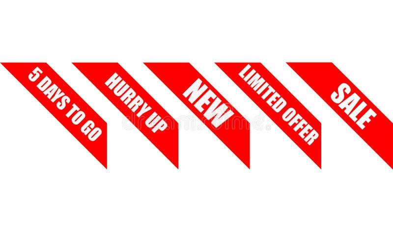 壁角横幅的销售红色丝带 库存例证