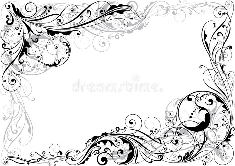 壁角漩涡花卉设计 库存例证