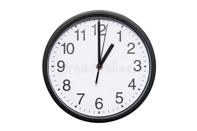 壁钟显示在白色被隔绝的背景的时间1点 圆的壁钟-正面图 十三时 免版税图库摄影
