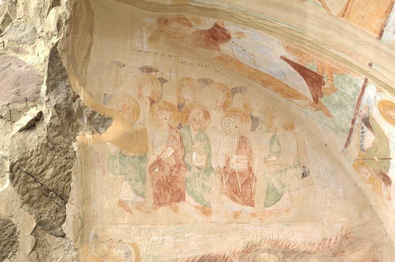 壁画13世纪,大卫Gareja和Udabno修道院 免版税库存照片