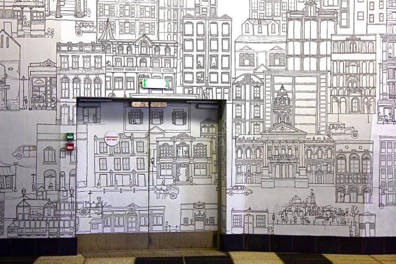 壁画在车厂,市中心,开普敦,南非 图库摄影